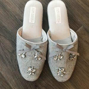 NWOT Zara home lingerie grey rhinestone slippers